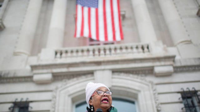 Columbia Vice Mayor Christa Martin speaks on the steps of the Maury County Courthouse in Columbia during a memorial service for Martin Luther King Jr. on Jan. 20, 2020.