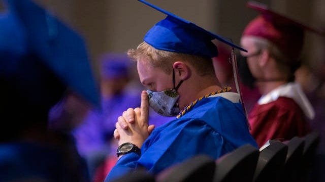 Mt. Pleasant High School senior Jon Luc Underwood, who will enlist in the United States Army, attends a special graduation ceremony as Columbia Central High School for Maury County Public Schools students who will join the United States Military on Wednesday, May 27, 2020.
