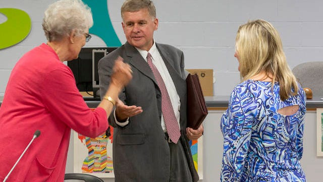 """William """"Mickey"""" Hall, a candidate for the position of Superintendent for Maury County Public Schools thanks School Board Chair Bettye Kinser, left, and board member Kristin Parker, right, after his interview with the board at Horace O. Porter School in Columbia on Tuesday."""
