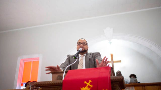 Trent Ogilvie speaks at Mt. Lebanon Missionary Baptist Church in Columbia during a celebration of Martin Luther King Jr., on Jan. 20, 2020.