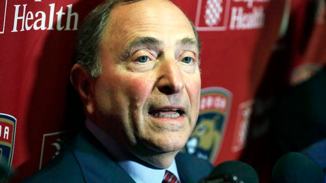 National Hockey League Commissioner Gary Bettman speaks to members of the media on March 7 in Sunrise, Fla.