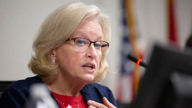 Maury County District 8 Commissioner Debbie Turner calls for the county not to participate in any program to house refugees during an administration committee meeting inside the Tom Primm Commission Meeting room on Feb. 4.