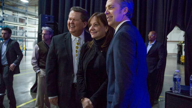 Spring Hill Mayor Rick Graham, left, and Maury County Mayor Andy Ogles, right, pose with General Motors CEO Mary Barra at the unveiling celebration for the Cadillac XT6 at the automaker's manufacturing facility in Spring Hill in January 2019.
