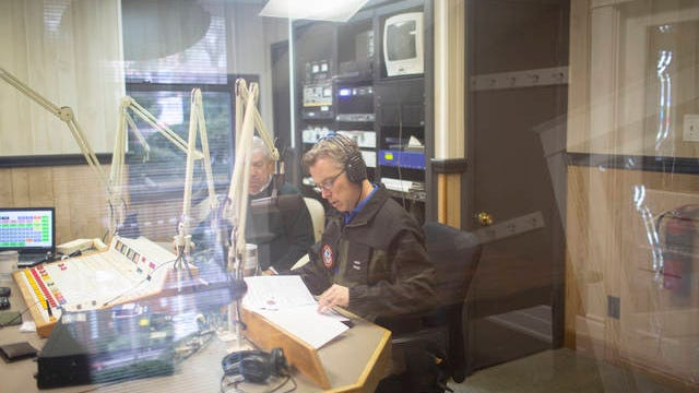 Maury County Mayor Andy Ogles gives an update on coronavirus during a broadcast at WKOM in Columbia on March 21.