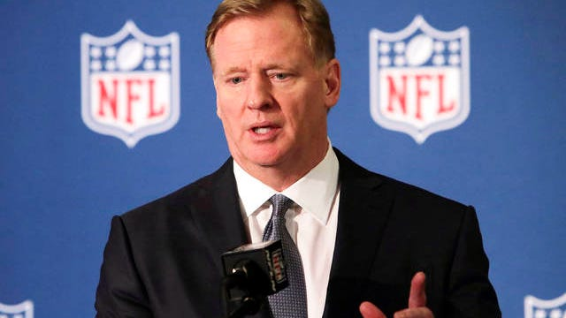 "In this Dec. 12, 2018 file photo, NFL commissioner Roger Goodell speaks during a news conference in Irving, Texas. The NFL, which has raised $44 million in donations through its Inspire Change program, announced the additional $206 million commitment Thursday, June 11, 2020, targeting what it calls ""systemic racism"" and supporting ""the battle against the ongoing and historic injustices faced by African Americans."""
