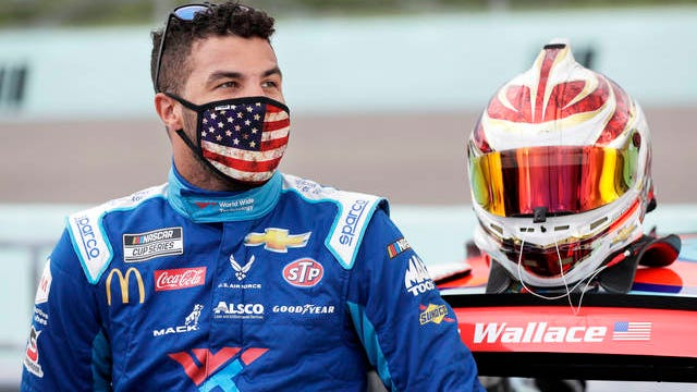 Bubba Wallace waits for the start of a NASCAR Cup Series auto race on June 14 in Homestead, Fla.