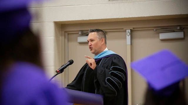 Former Superintendent Chris Marczak speaks at a commencement ceremony at Columbia Central High School on Monday.