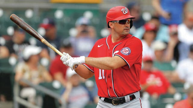 Washington Nationals' Ryan Zimmerman waits for a pitch during spring training.