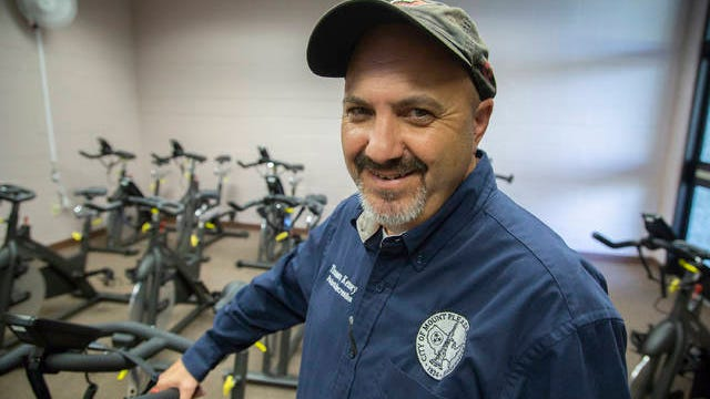 Mt. Pleasant Parks Director Thomas Kenney poses inside the new spin studio at the Mt. Pleasant Community Center on Monday, Oct. 22, 2018.