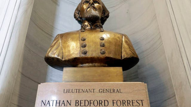 The bust of Nathan Bedford Forrest is displayed in the state capitol Wednesday in Nashville. Gov. Bill Lee announced Wednesday that a state panel that has the authority to help remove the bust of the former Confederate general and early leader of the Ku Klux Klan will take up the issue next week.