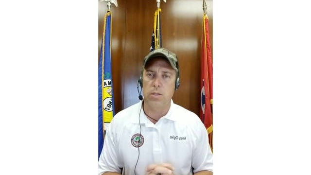 Maury County Mayor Andy Ogles speaks in support of reopening schools during the coronavirus pandemic during a daily update from his office at the Maury County Courthouse in Columbia on Sunday.