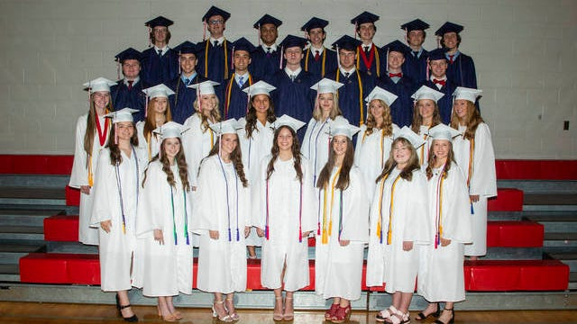 Columbia Academy celebrates its Summa Cum Laude graduates. They are, first row: Macy Morgan, Emma Voss, Bailee Luna, Ali Christian, Ashley Heffington, Sophie Parrett, and Hannah Diles. Second row: Hannah White, Rachel Ivy, Madison Reed, Olivia Wolfe, Jewels Ranes, Abby Davis, Brinly Gray, and Victoria Karkau. Third row: Christopher Miller, Chris Hardy, Nic Underwood, Reagan Walker, Todd Beasley, Cameron Terry, and Harrison Warren. Fourth row: Luke Smith, Alex Savage, Joshua Brown, Cade Harrison, Phillip Young III, Sam Steiger, and Daniel Thomas. Missing from picture: Carolyn Alderson.