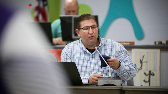 School board member Chad Howell attends a review of the Maury County Public Schools COVID-19 health plan during a meeting at Horace O. Porter School on Thursday, July 23, 2020.