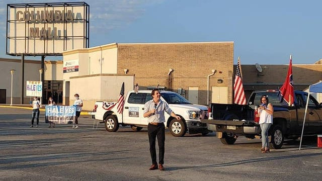 Democrat Chris Hale, running for the Congressional seat held by Republican U.S. Rep. Scott DeJarlais, speaks at a Truck-n-Stump forum hosted in the parking lot of the Columbia Mall on June 2.