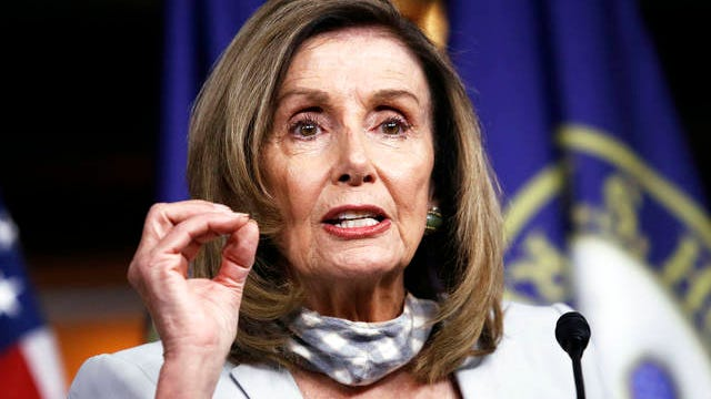 House Speaker Nancy Pelosi of Calif., speaks during a news conference on Capitol Hill in Washington on Aug. 13, 2020.