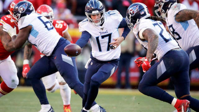 In this Jan. 19 file photo, Tennessee Titans quarterback Ryan Tannehill (17) looks to hand the ball off during the first half of the AFC championship NFL football game against the Kansas City Chiefs in Kansas City, Mo. The Tennessee Titans are confident enough Ryan Tannehill can repeat the best season of his career, or close enough, that they gave him a four-year, $118 million contract.