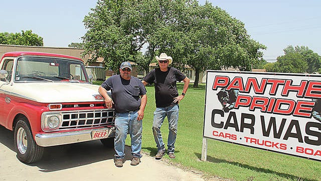 Manager Kevin Swan, left, and owner Terry Shreve, right, enjoy offering a quality small-town car wash to Barnsdall and the surrounding areas at the Panther Pride Car Wash. Robert Smith/Journal-Capital