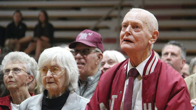 Former players, and their friends and family members, thronged Feb. 14 to the fieldhouse in Barnsdall named after Joe Gilbert to pay tribute to the man who has helped to define sportsmanship in Osage County. He is shown here with his wife, Joyce, at his side. Journal-Capital file photo