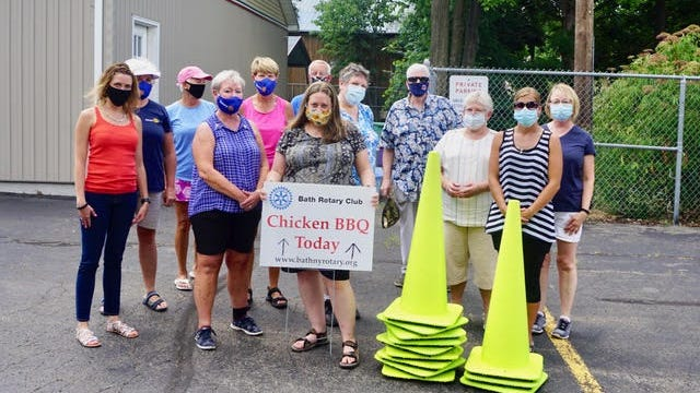 The Bath Rotary Club held a successful drive-thru chicken barbecue July 25 at Centenary United Methodist Church.