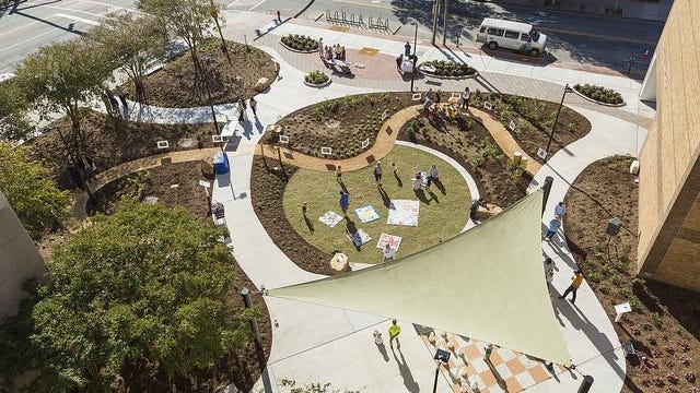 An aerial view of Story Park at the New Hanover County Public Library at Third and Chestnut streets in downtown Wilmington.