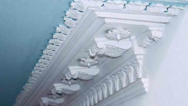 Here is an example of new styles of craftsmanship added by Italian plaster artists to embellish the rooms of a simple country manor in a Scottish castle, a viewed by Fairfield Harbour cyclists Nancy and Tony Difede.