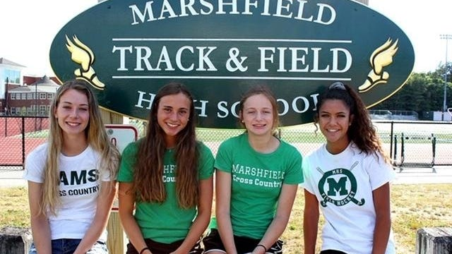 From the left, Amanda MacKinnon, Ava LoVuolo, Charlotte Henning and Veronica Julian (along with missing teammate Olivia Valianti) represented the Marshfield High track and field team at the recent virual national competition.