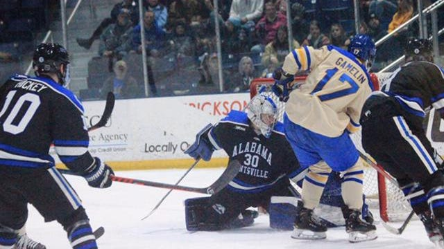 Lake Superior State's Chase Gamelin (17) goes to the net during a game against Alabama-Huntsville last season. Alabama-Huntsville planned to drop its hockey program, but was saved by fundraising campaign which raised more than $750,000 this past week.