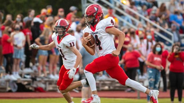 El Dorado's gannon White (4) races down the field against Labette County on Friday, Sept. 18. White ran for 110 yards and scored two touchdowns