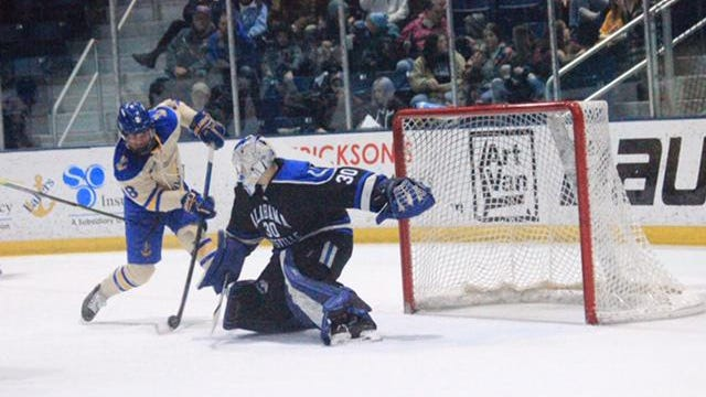 Lake Superior State's Bryan Basillico (18) gets a shot on net during a game against Alabama-Huntsville this past season.
