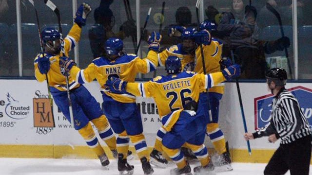 Lake Superior State players celebrate a goal against WCHA rival Michigan Tech last season. The WCHA announced Thursday that it will delay the start of the 2020-21 season.