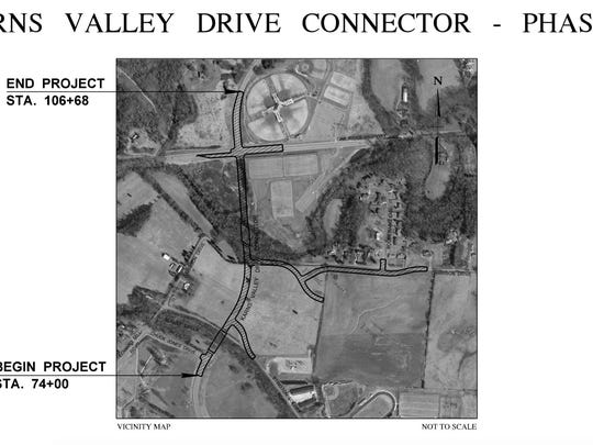 Aerial map depicting the Karns Connector Phase 2.