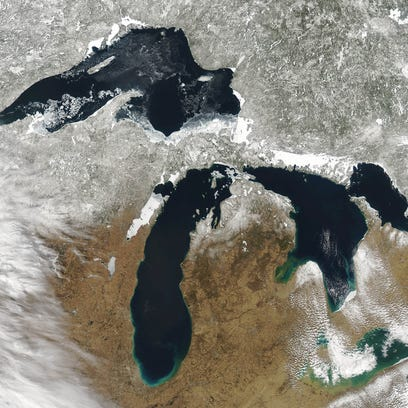 Four of the five Great Lakes—Superior, Michigan, Huron