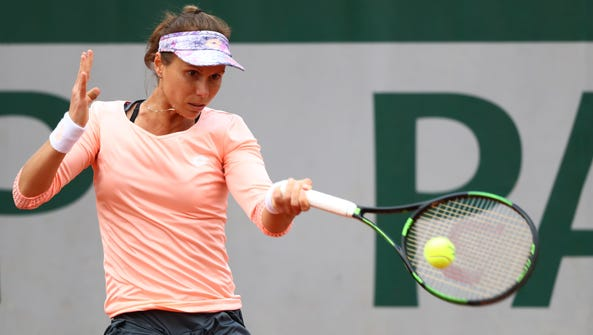 Varvara Lepchenko of the United States plays a forehand