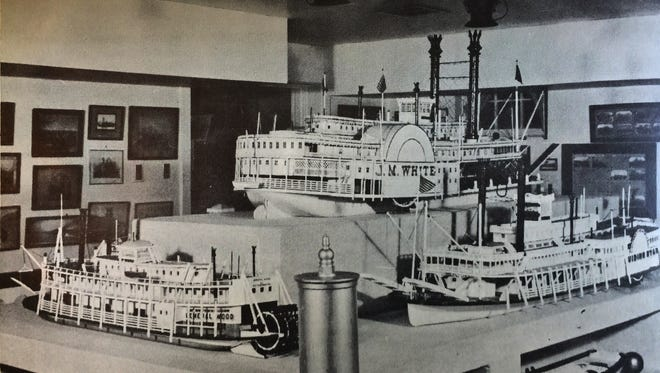 This display dates from about 1950 in what is now the Ohio River Museum in Marietta, Ohio. The J.M. White, which Spottsville resident Bert Van Cleve also modeled on a smaller scale, is at top. At left is the General Wood, and at right is the Guiding Star.