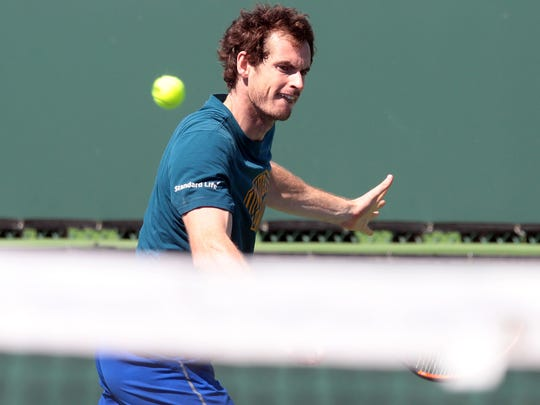 Andy Murray, of Great Britain, on practice court 12 during the first Wednesday of the BNP Paribas Open on Wednesday, March 8, 2017 in Indian Wells, CA.