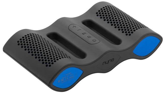 The NYNE Aqua speaker has a IPX-7 waterproof and shockproof rating (rubberized exterior), allowing it to be submersible up to 3.3 feet deep along with floating next to you.