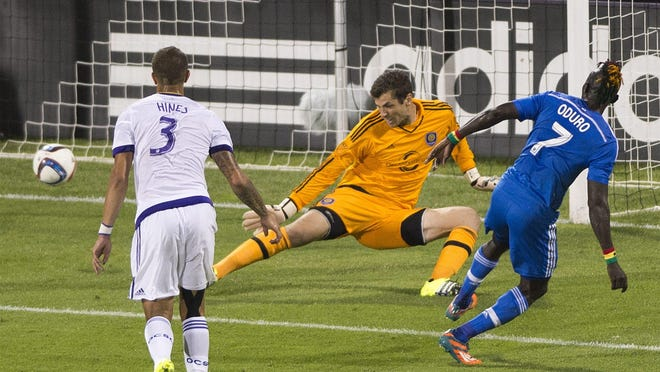 Montreal Impact's Dominic Oduro right, scores on Orlando City SC's goalkeeper Tally Hall as Orlando's Seb Hines defends during second half MLS soccer action in Montreal, Saturday, June 20, 2015. . (Graham Hughes/The Canadian Press via AP) MANDATORY CREDIT