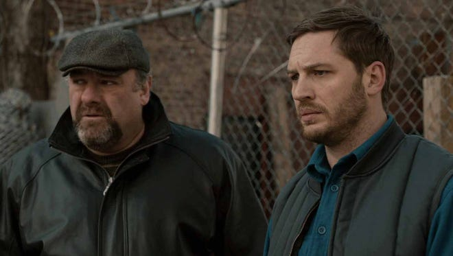 James Gandolfini, left, as Cousin Marv, left,  and Tom Hardy as ?Bob? in the upcoming crime drama 'The Drop.' The film will be the final onscreen performance of James Gandolfini, who died of a heart attack at age 51 during an Italian vacation last June.