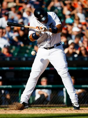 Tigers first baseman Miguel Cabrera (24) avoids an inside pitch in the sixth inning of the Tigers' 6-0 loss Saturday at Comerica Park.