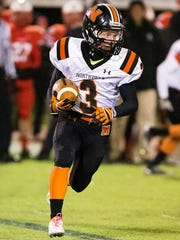 Northville's Zach Prystash tries to run the jet-sweep
