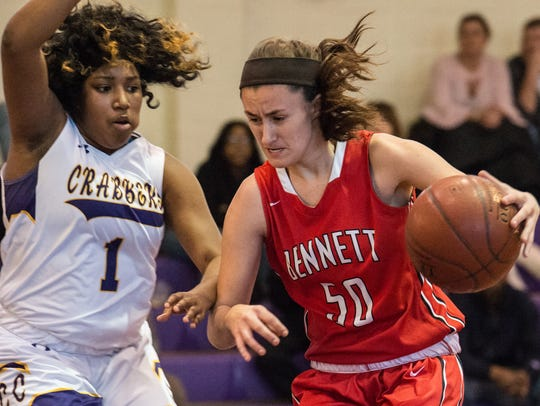 Bennett's Olivia Owens (50) drives to the net during