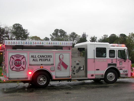 The Pink Fire Trucks from Pink Heals, Inc., are coming to Tradition Square in Port St. Lucie on Saturday, Sept. 9, to raise money for a local cancer patient, Francine Brown.