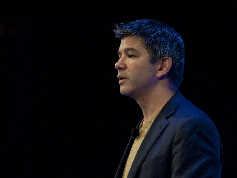 Travis Kalanick, CEO of Uber, delivers a speech in London October 3, 2014.