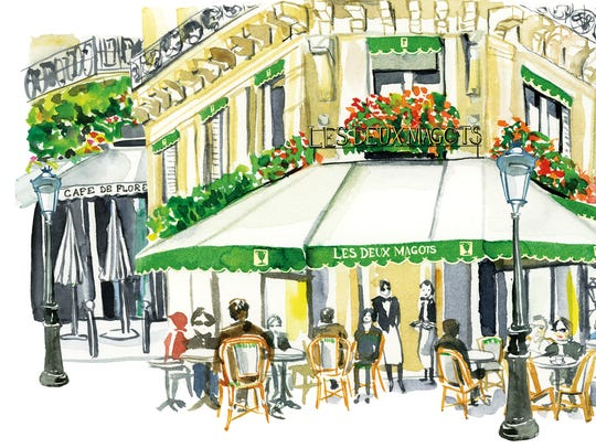 "A cafe scene from ""Paris in Stride."""