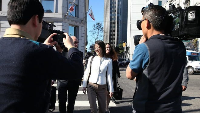 Ellen Pao, is seen leaving San Francisco Superior Court in March 2015. A jury found no gender bias against Pao, a former employee at Silicon Valley venture capital firm Kleiner Perkins Caulfield and Byers but her case drew attention to the treatment of women in Silicon Valley.