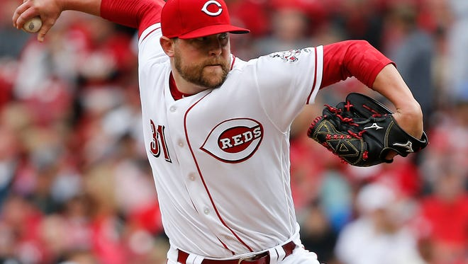Cincinnati Reds relief pitcher Drew Storen (31) delivers in the seventh inning during the National League baseball game between the Philadelphia Phillies and the Cincinnati Reds, Monday, April 3, 2017, at Great American Ball Park in Cincinnati.
