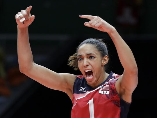 """Leland's Alisha Glass celebrates during a match in Rio. """"There is nobody with a higher volleyball IQ in our program,"""" coach Karch Kiraly said."""
