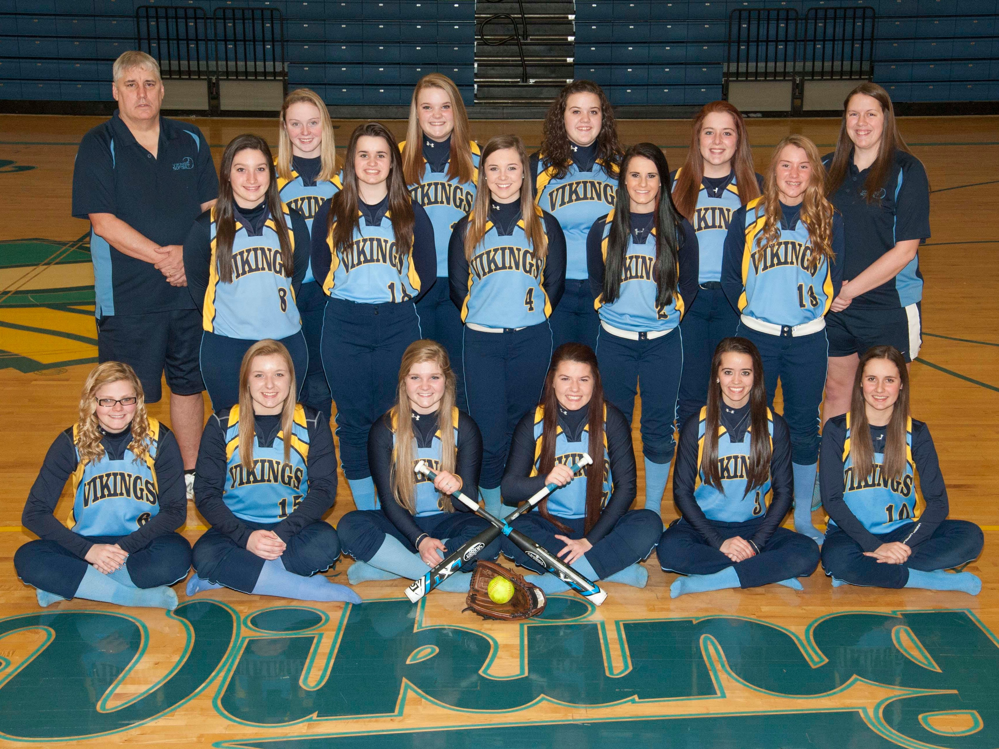 The River Valley 2015 varsity softball team is, front row from left, Shalynn Call, Cassady Starkey, Claire Nicholson, Alexis Reichardt, Alyssa Johnson and Kylie Lang. Second row is Kayla Whitley, Daisy Goodman, Morgan Lott, Cambry Arnold and Mackenzie Warner. Back row is head coach Phil Shepler, Brittany Ewalt, Josie Morrow, Amy Poorman, Madison Myers and coach Katie Jividen.