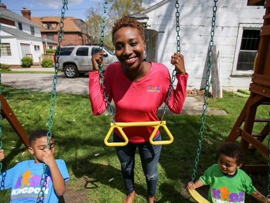 Danielle North, 33, of Detroit says her children, Preston, 2 and Eugene Jr., 6, were her inspiration for opening, Kidz Kingdom, an indoor playground on the west side of Detroit.