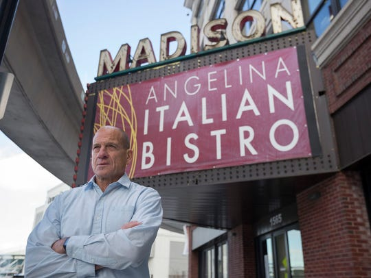 Tom Agosta, owner of the now shuttered Angelina Italian Bistro, poses for a portrait outside of his restaurant located in the M@dison Building on Thursday, Dec. 15, 2016 in Detroit. Sources say the location could be the site of a new Buddy's Pizza.